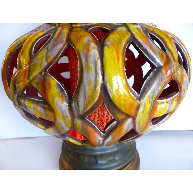 1960s 1960s Pierced Ceramic Table Lamps - A Pair For Sale - Image 5 of 8