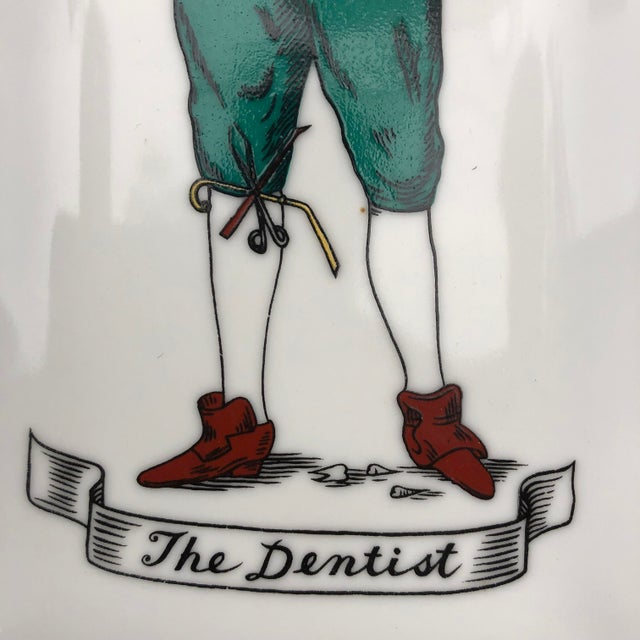 "Vintage Old Time Dentist ""The Dentist"" Porcelain Wall Plaque/Plate For Sale - Image 4 of 8"