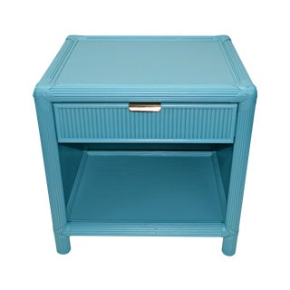 Blue-Green Rattan Nightstand For Sale