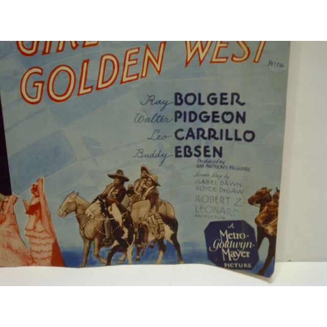 "Americana Vintage ""The Girl of the Golden West"" Movie Poster For Sale - Image 3 of 4"