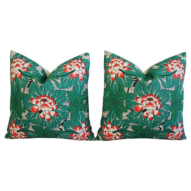 Custom Chinese Lotus Blossom Linen Pillows - Pair - Image 6 of 6