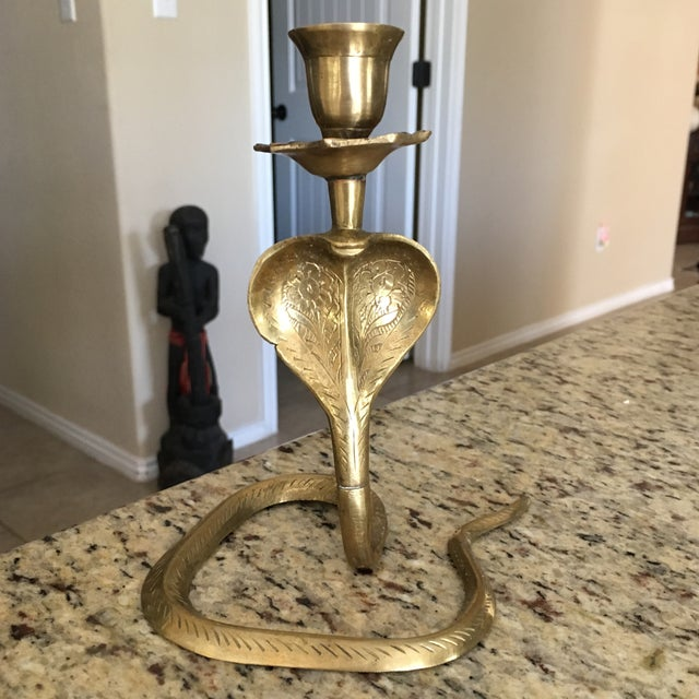 Bohemian Brass Cobra Candle Holder - Image 2 of 7