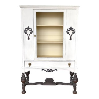 1920s Jacobean Painted White China Cabinet For Sale