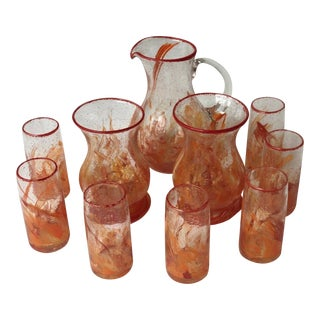 Authentic Biot Glasses, Hurricane Lamps and Jug From Provence, France - Set of 10 For Sale