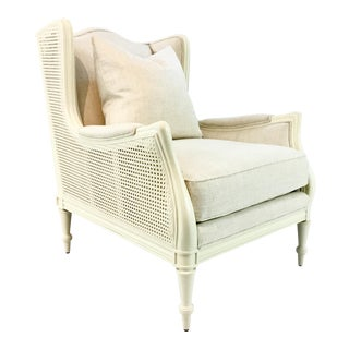 Transitional Caracole Southern Charm Caned Club Chair For Sale