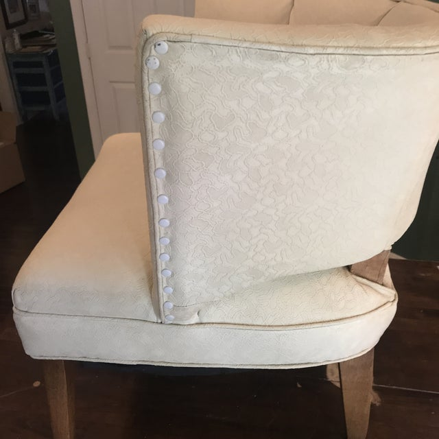 1950s 1950s Mid-Century Modern Padded Channel-Backed Club Chair For Sale - Image 5 of 9