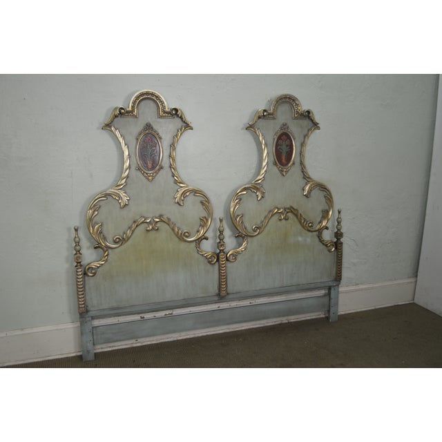 Karges Vintage High Back Paint Decorated Venetian Style King Size Headboard - Image 7 of 10