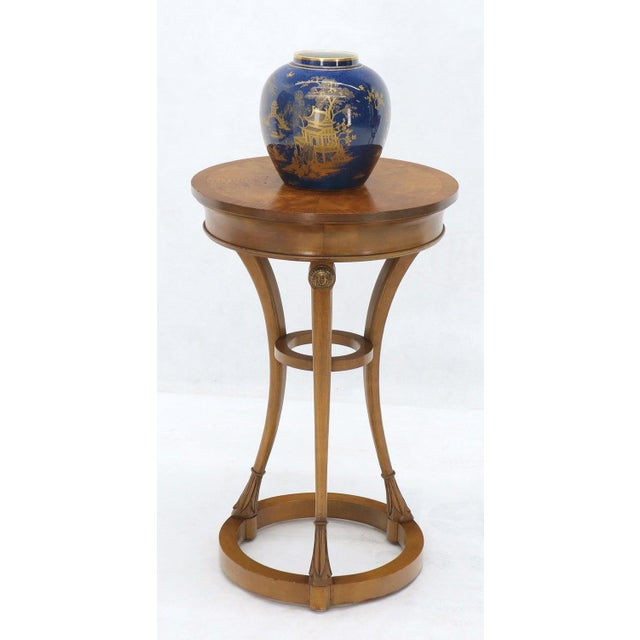 Wood Pair of Tall Round Pedestal Shape Side End Tables on Tri Legged Bases Burl Wood For Sale - Image 7 of 13