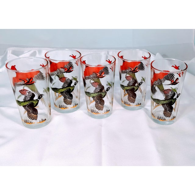 Glass Hazel Atlas Mid-Century Modern Pheasant Hunting Glasses - Set of 5 For Sale - Image 7 of 8