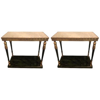 Pair Swedish Neoclassical Style Marble Top Consoles in the Maision Jansen Style For Sale