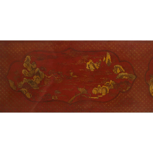 Pair of Asian Chinese Style Red Lacquer Chinoiserie Decorated Altar Console Table For Sale - Image 4 of 10