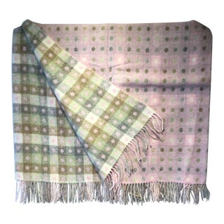 Wool Throw Spot Check Pink Made in England For Sale