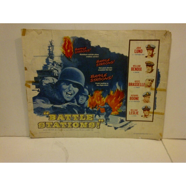 """This is a vintage movie poster (56/25) of """"Battle Stations"""" starring John Lund from 1956. It shows some tearing marks and..."""