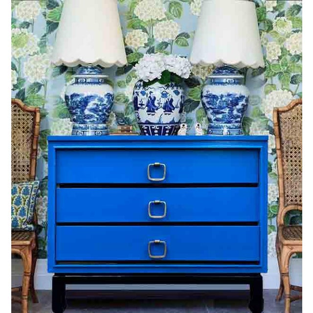 We lover this Mid-century Chinoiserie chest by Basic Witz. It features attractive brass hardware, nice chow feet and 3...