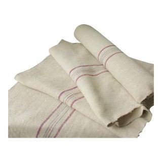 Vintage Homespun Hemp Natural Linen Grain Sack Fabric - 8.8 Yds For Sale
