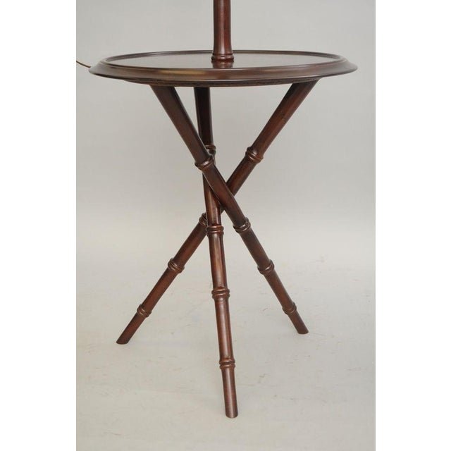 Pair of Chinese Chippendale Faux Bamboo Floor Lamp End Tables Tripod Wood Vintage For Sale - Image 10 of 11