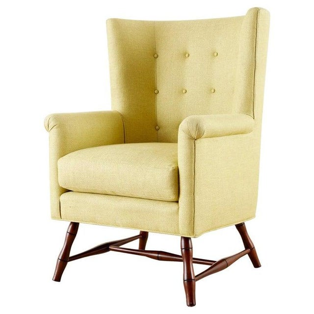 Westcott Citron Linen Wing Chair by Bunny Williams For Sale - Image 13 of 13