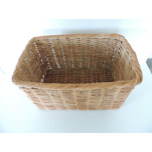 Country Vintage Woven Rattan Magazine or Storage Basket For Sale - Image 3 of 6