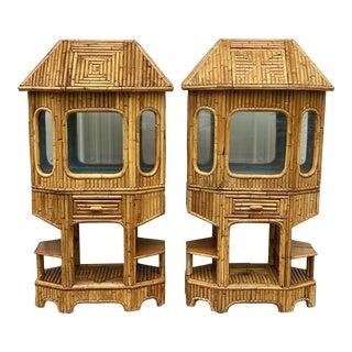 Pair Vintage Split Bamboo Tiki Fish Tanks or Terrarium's For Sale