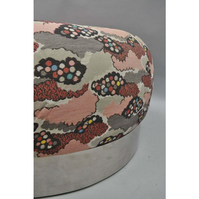 Mid Century Modern Round Pink Tufted Chrome Base Souffle Pouf Ottoman For Sale - Image 4 of 9