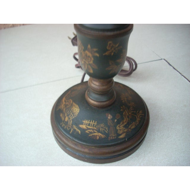 Asian Chinoiserie Candlestick Table Lamp For Sale - Image 3 of 5