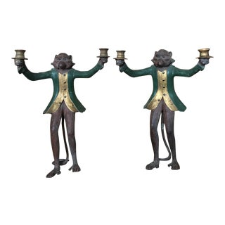 20th Century Cast Resin Hand Painted Monkey Candelabra - a Pair For Sale