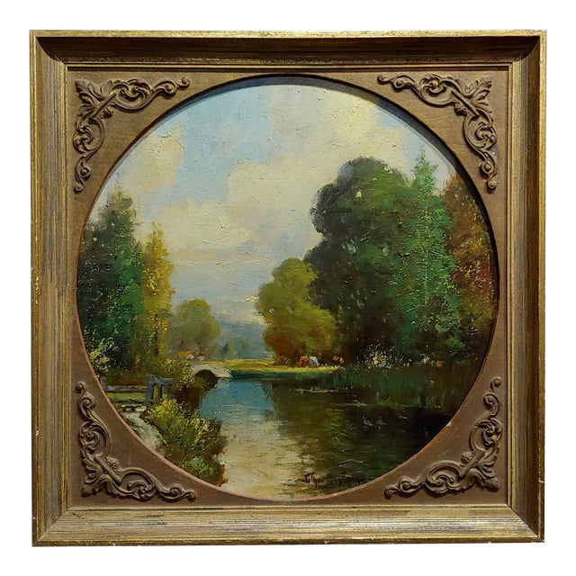 George Thompson Pritchard -Bridge Over a Pond -Impressionist Oil Panting C1920s For Sale
