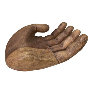 1960s Mid Century Wooden Human Hand Sculpture For Sale