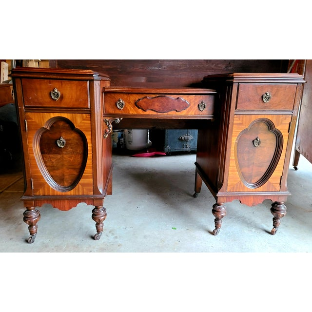 Late 19th Century Antique Regency Burl Veneer Marquetry Console Table/ Vanity For Sale - Image 5 of 5