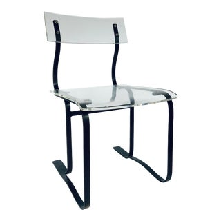Modern Acrylic and Black Metal Accent Chair For Sale