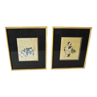 "Old Japanese Noh Drama Water Colors Set of Two 14"" H For Sale"