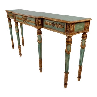19th Century Venetian Green Painted Console Table For Sale