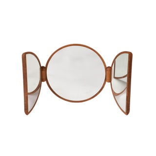 Foldable Circular Danish Teak Table Mirror For Sale
