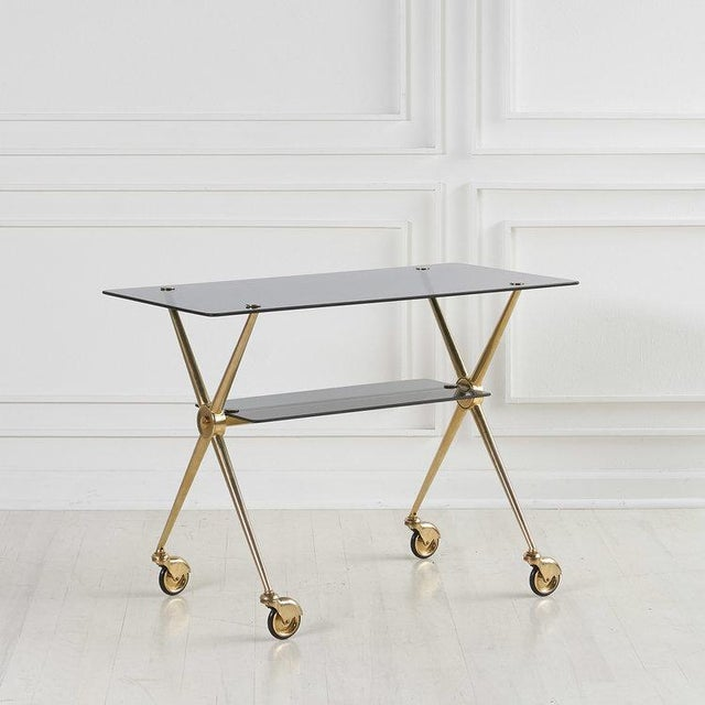 French Brass and Smoked Glass Rolling Bar Cart For Sale In Chicago - Image 6 of 6