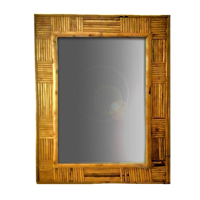 Bamboo Vintage Pencil Reed Rattan Mosaic Patchwork Patterned Framed Wall Mirror For Sale - Image 7 of 7