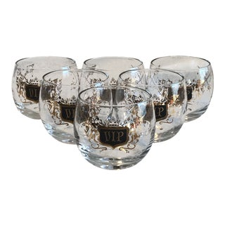 Mid-Century Modern Roly Poly Cocktail Bar Glasses - Set of 6