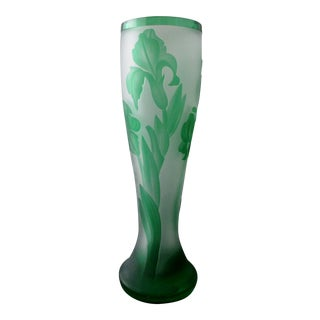 Capella Czech Bohemian Sandblasted Frosted Glass Green Iris Vase For Sale