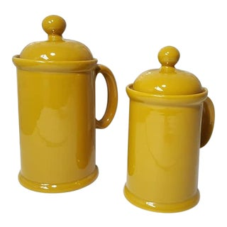 1970s Vintage Peasant Village Canister With Lid and Handle Ceramic Canister Jars - a Pair For Sale