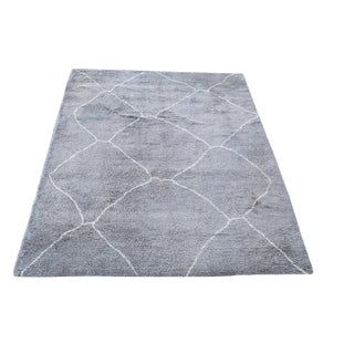 20th Century Moroccan Design Gray Wool Rug - 9'x12' For Sale