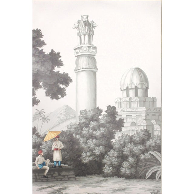 """2020s Jardins en Fleur """"Idyllic Scenes of Ancient India"""" Hand-Painted Grisaille Framed Polyptyc, 4 Pieces For Sale - Image 5 of 9"""