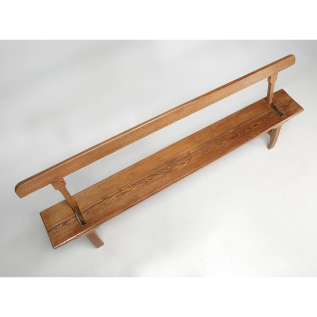 Brown Antique Country Pine Bench With Adjustable Back For Sale - Image 8 of 13
