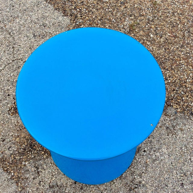 20th Century Memphis Blue Molded Fiberglass Modernist Corseted Side Table For Sale In Dallas - Image 6 of 8