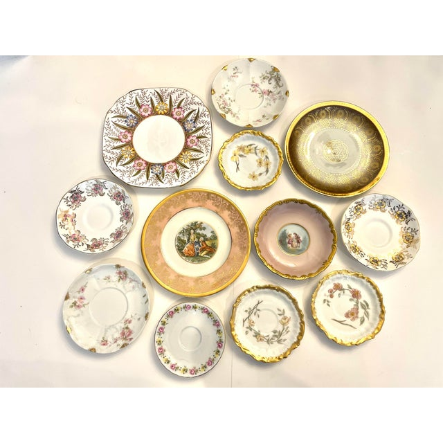 Limoges, France Vintage Pink and Gold Mixed Decorative Plates- a Set 12 For Sale - Image 4 of 13