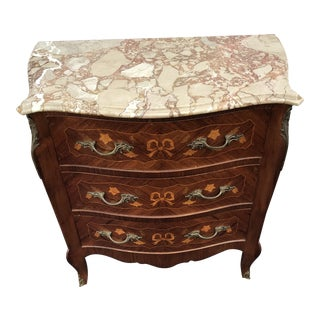 Vintage Italian Marble Top Inlaid Chest of Drawers For Sale