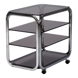 Mid-Century Polished Chrome and Smoked Glass Trolley on Casters For Sale