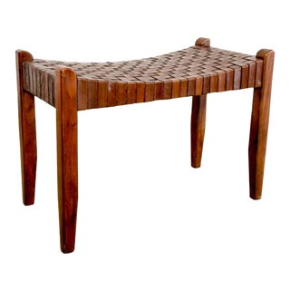 Mid Century Rustic Modern Handwoven Leather Strap Bench