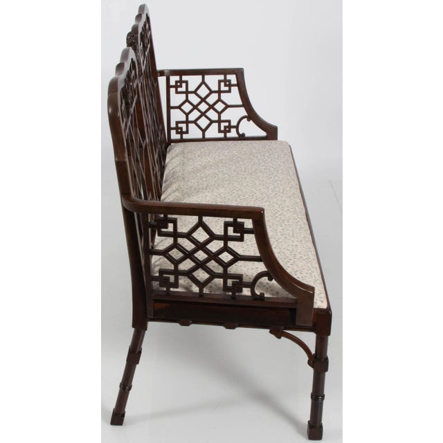 English Chinese Chippendale Mahogany Settee For Sale - Image 4 of 9
