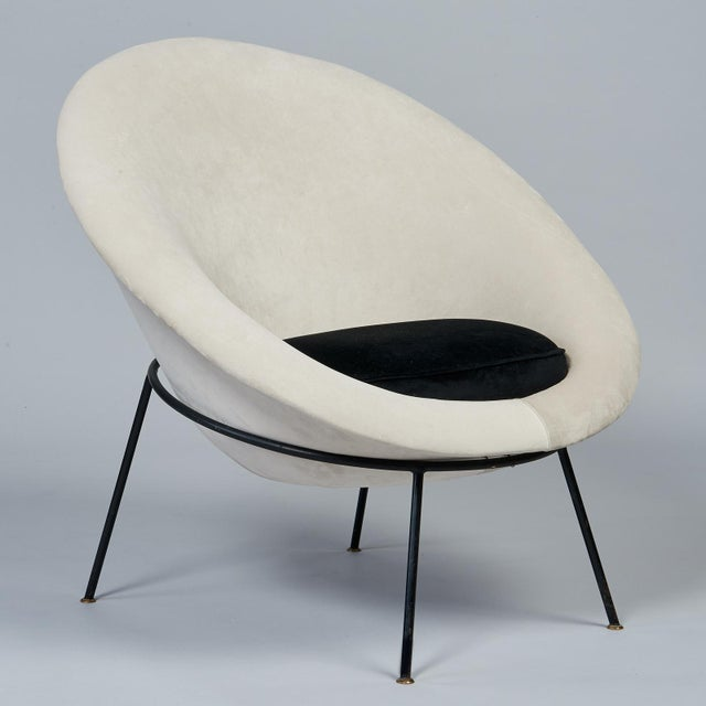 Metal 1950s Vintage Velvet and Lacquered Metal Egg Chairs- A Pair For Sale - Image 7 of 10