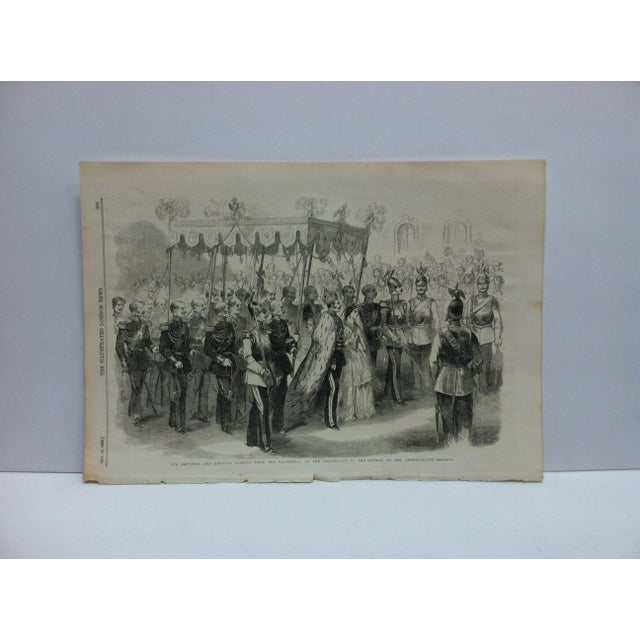 """Mid 19th Century 1856 Antique """"The Emperor & Empress Passing From the Cathedral of the Assumption to the Church of Annunciation"""" The Illustrated London News Print For Sale - Image 5 of 5"""