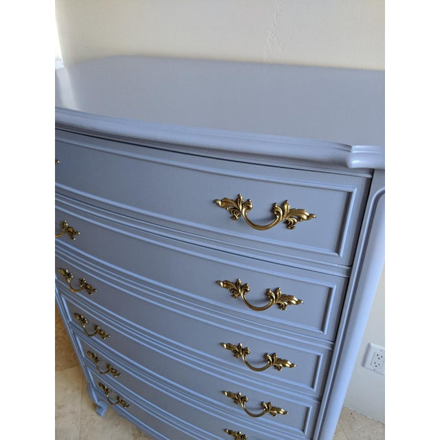 Baby Blue 1950s French Provincial Dixie Light Blue Gloss Highboy For Sale - Image 8 of 11